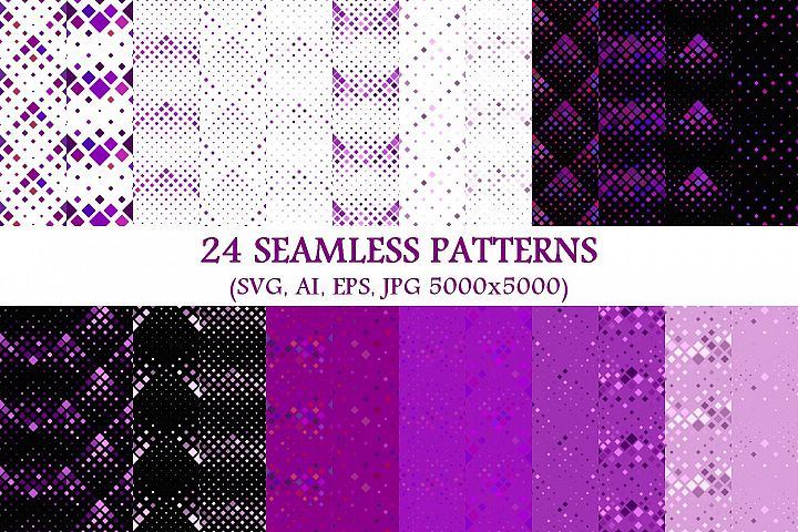24 Seamless Purple Square Patterns
