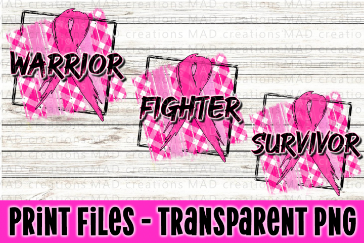 Fighter Warrior Survivor - Breast Cancer Ribbon Bundle