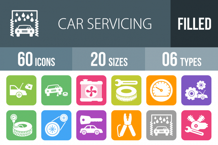 60 Car Servicing Filled Round Corner Icons