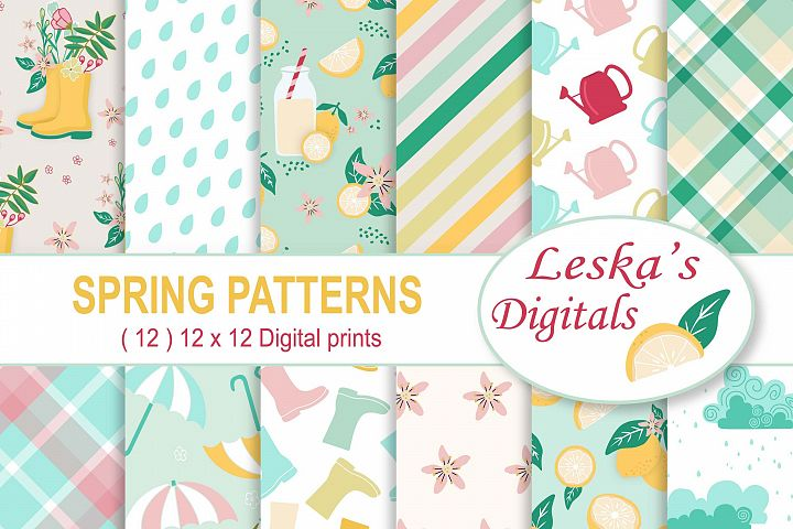 Spring Digital Paper Pack - Spring Showers