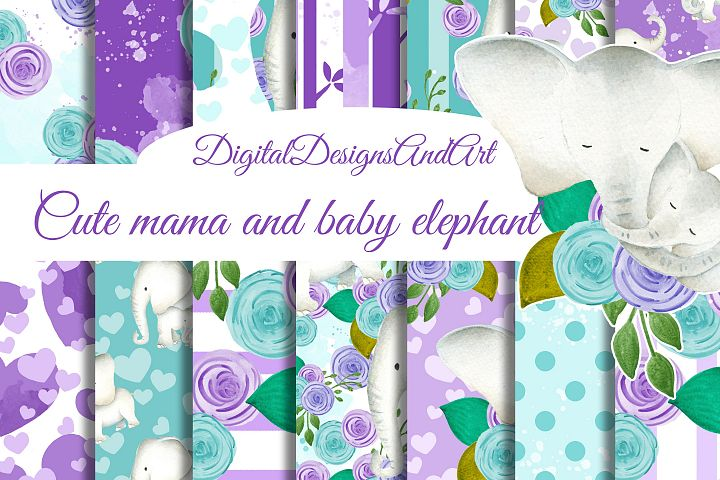 Baby and mama elephant paper for boys