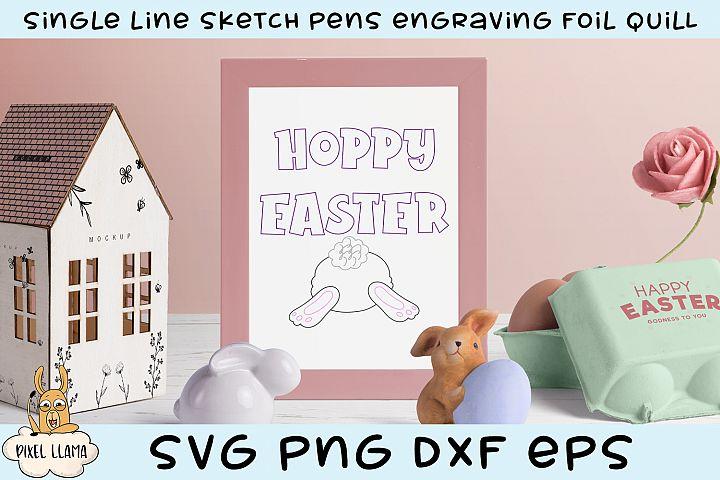 Hoppy Easter Single Line Sketch Foil Quill