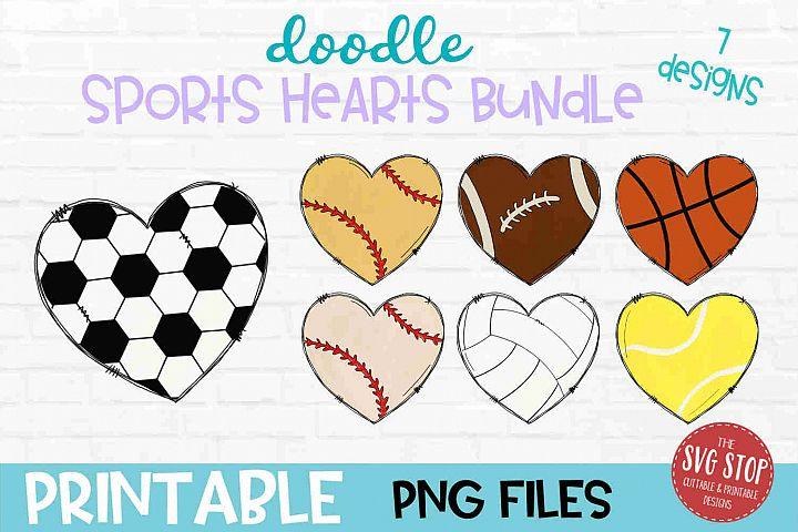 Doodle Heart Bundle Sublimation Design PNG