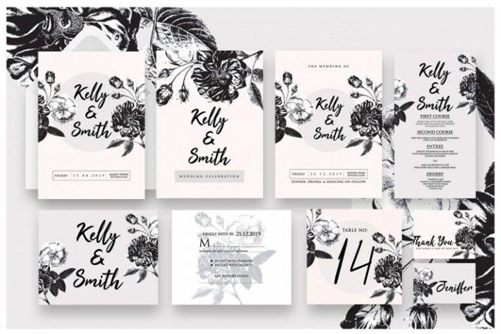 Black Foliage Wedding Invitation As.1
