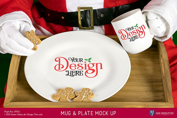 Christmas Mock Up - Santa Mug & Plate Mock Up