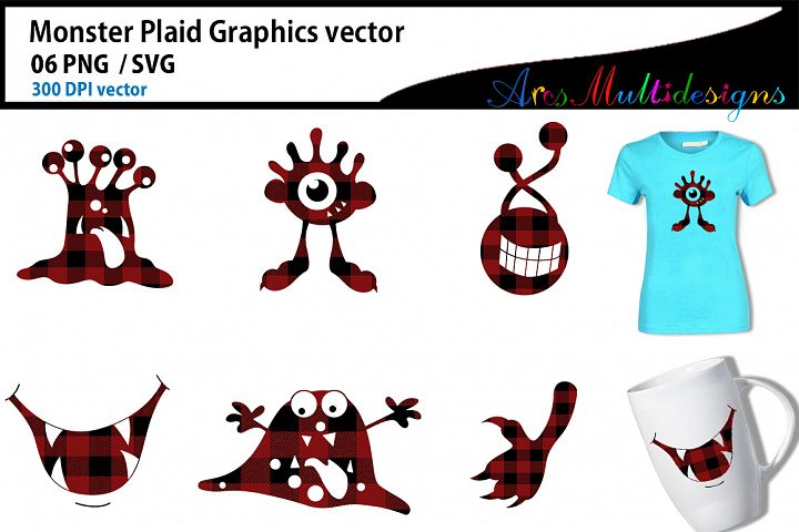 Monster plaid characters svg / cute monster SVG / vector