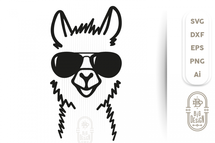LLAMA SVG CUT FILE - Lama Head Svg Illustration & sunglasses