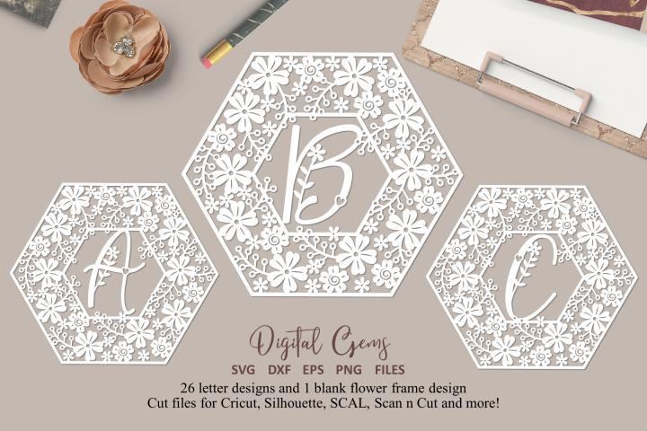 Full alphabet, hexagon paper cut bundle. SVG / DXF / PNG