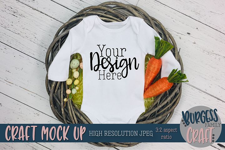 Easter Baby bodysuit Craft mock up |High Resolution JPEG