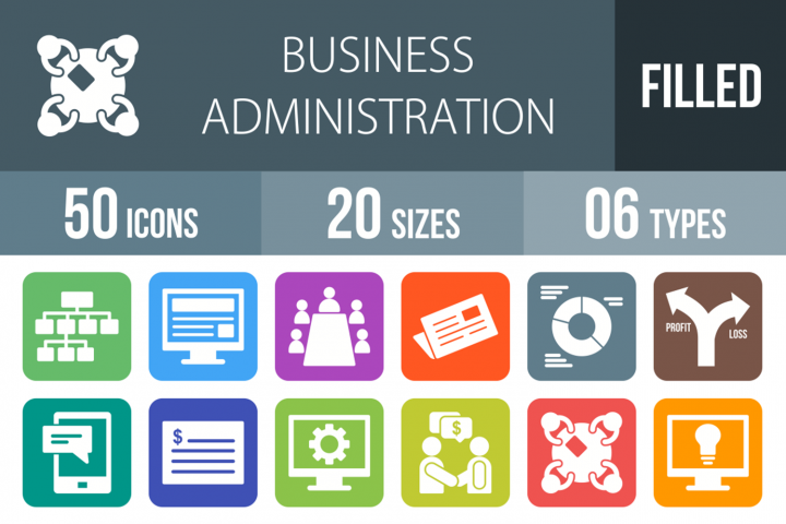 50 Business Administration Filled Round Icons