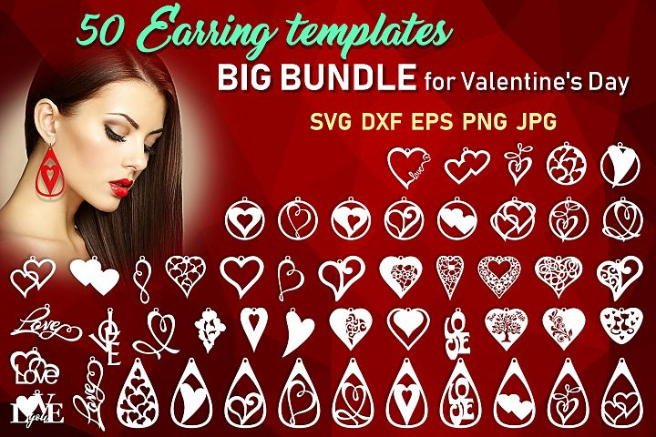 50 Leather earring bundle svg Valentine Love svg Heart