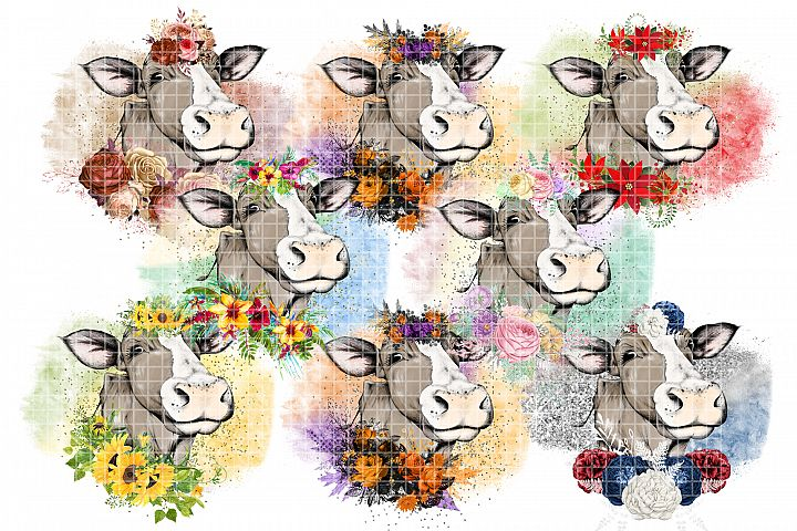 Dress Up Cow Sublimation Designs Bundle