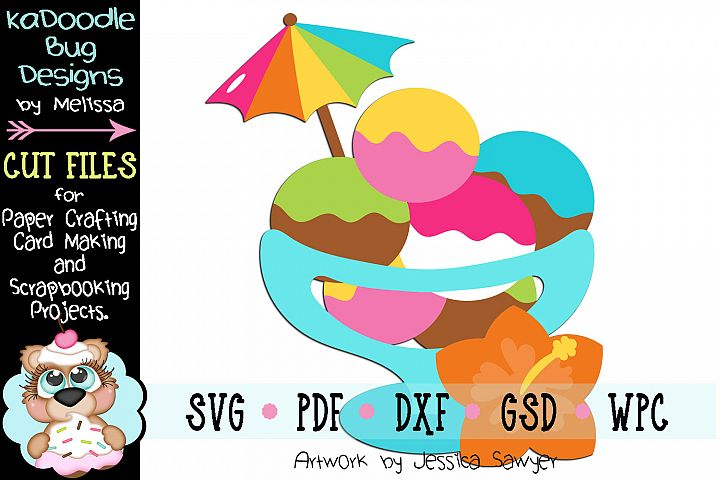 Tropical Ice Cream Cut File - SVG PDF DXF GSD WPC