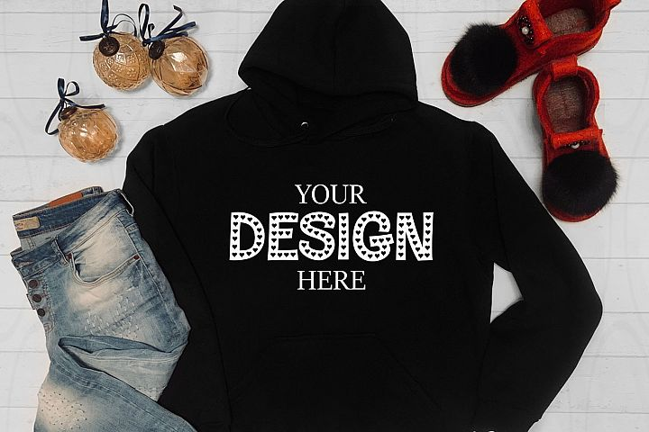 Unisex Hooded Sweat Shirt mockup Jersey Shirt Flat Lay Long