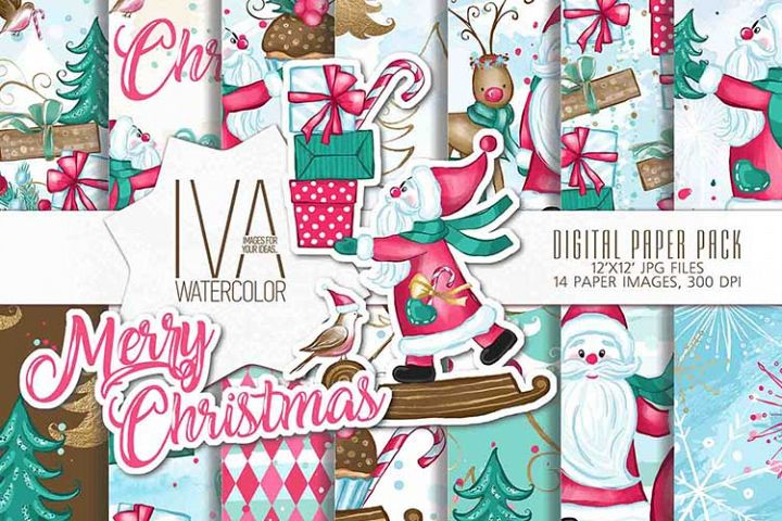 Christmas Digital paper pack, Santa Claus Seamless paper