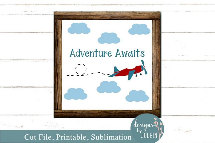 Adventure Awaits - Vintage Plane SVG, Sublimation, Printable