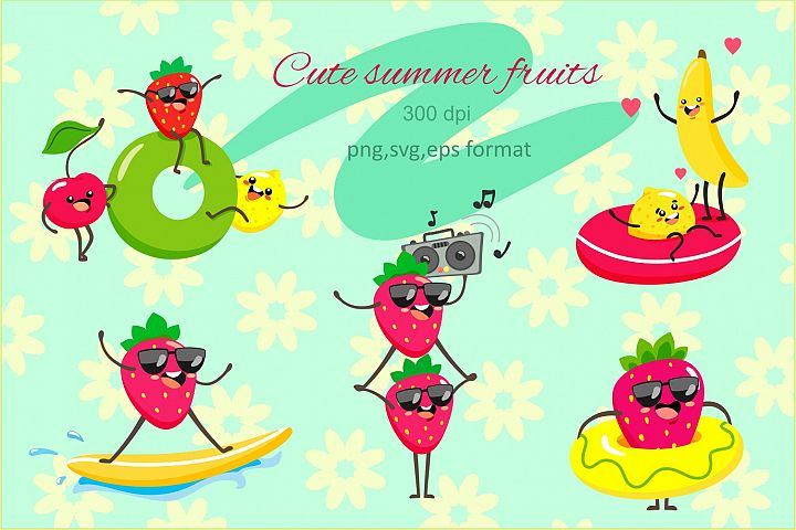 Vector set of cute fruits in summer.