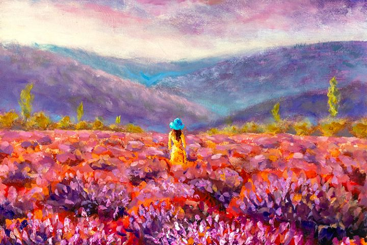 Beautiful girl in lavender field landscape painting.