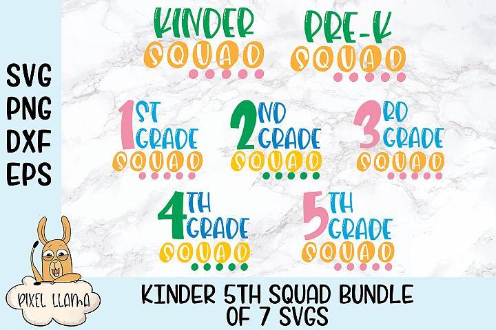 Kinder thru 5th Grade Squad Bundle of 7 SVGs