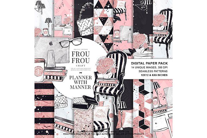 Planner Girl Boss Office Work Pink Paper Pack