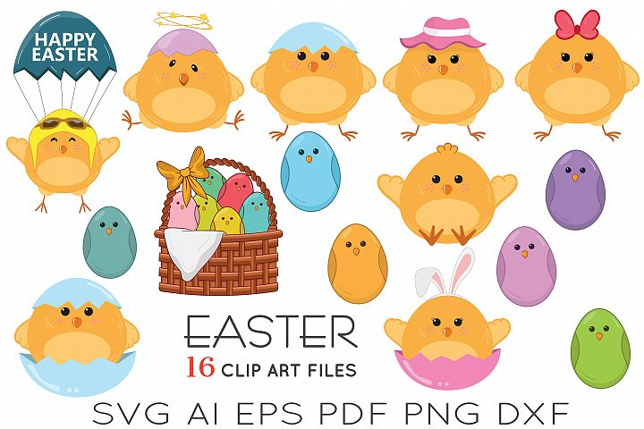Easter chicks and eggs Clip art | svg files
