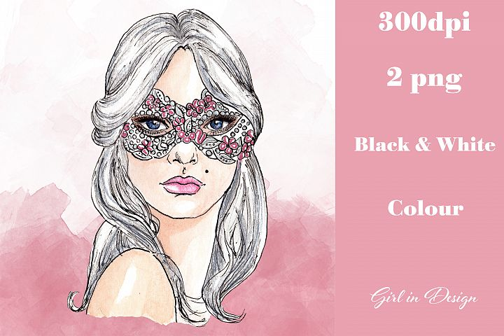 Masked Girl New Year Clipart