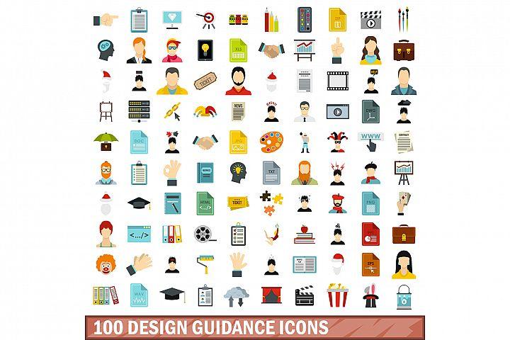 100 design guidance icons set, flat style