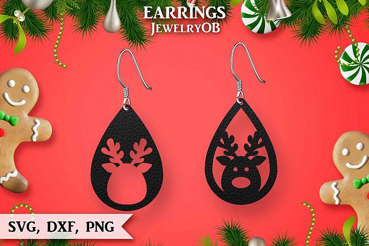 Christmas Earrings, Cut File, SVG DXF PNG, Reindeer, Deer