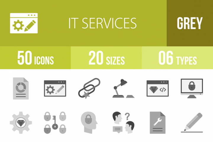 50 IT Services Greyscale Icons