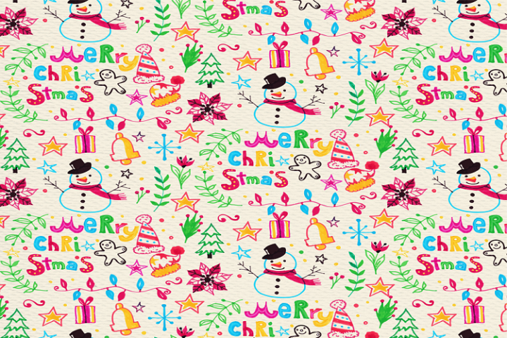 Colorful christmas elements seamless background vector