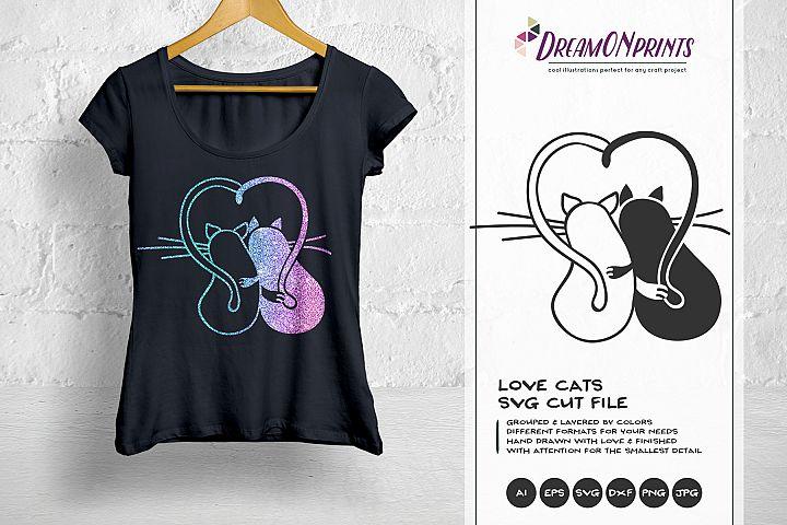 Love Cats SVG - Valentine Cat SVG, Couples SVG