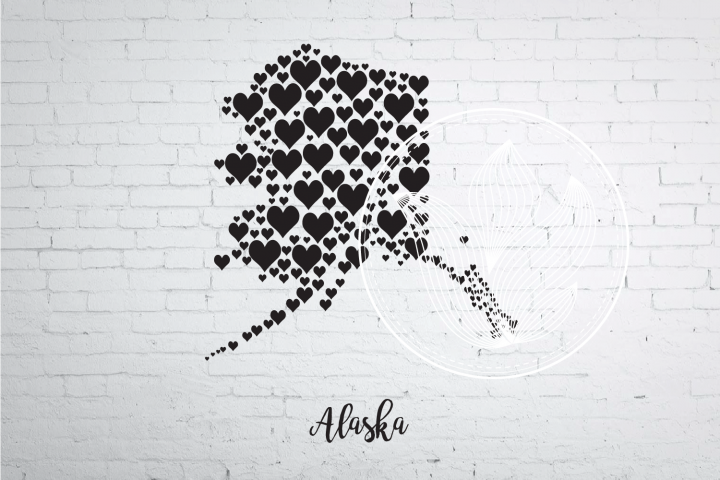 Alaska heart map jpg, png, eps, svg, dxf, pdf