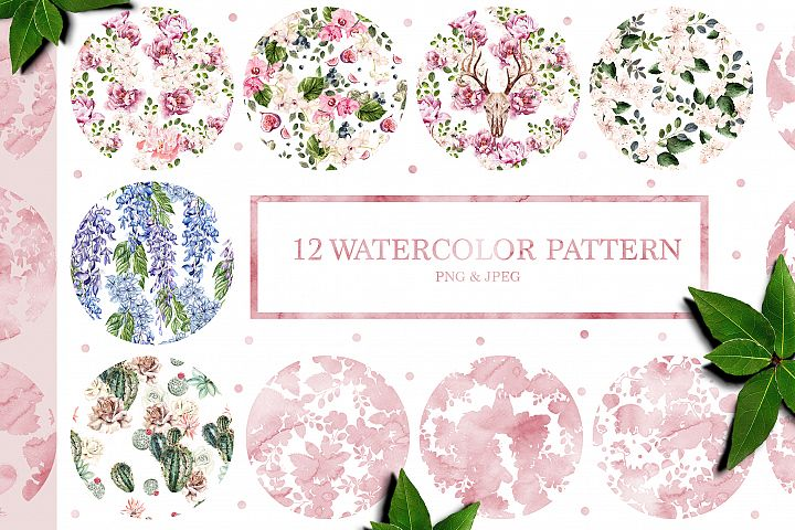12 Hand Drawn watercolor patterns