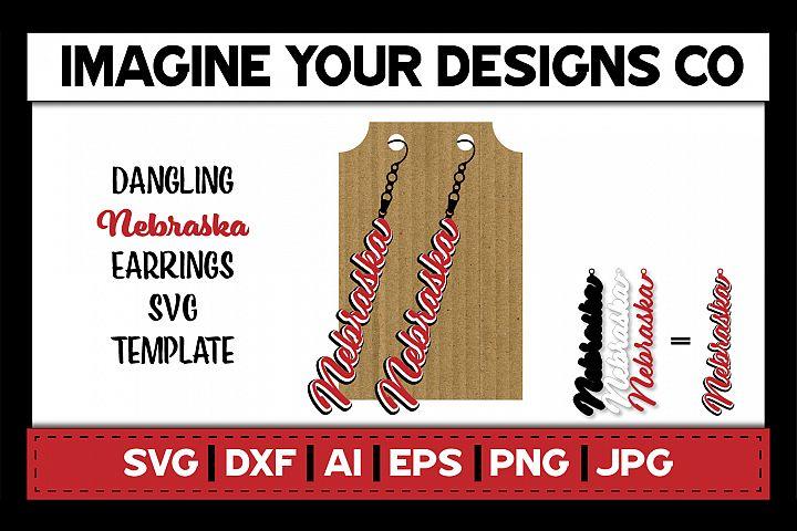 Nebraska Dangling Earring - SVG Cut File Template