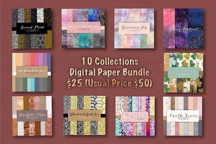 144 Digital Papers 10 Collection Digital Paper Bundle
