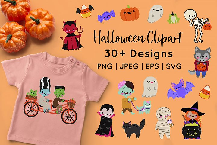 Kawaii Halloween Monsters Vector Clipart