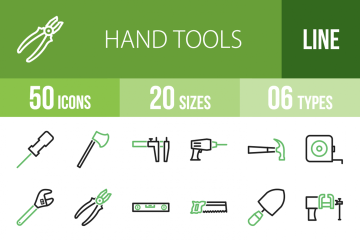 50 Hand Tools Line Green & Black Icons