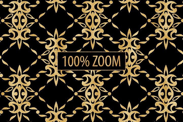Black and Gold Seamless Papers - Damask & Geometric Patterns example 7