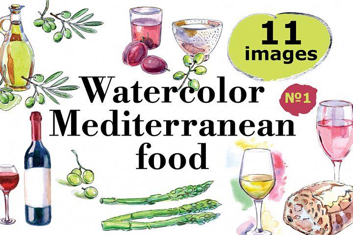 Watercolor Mediterranean food set-1