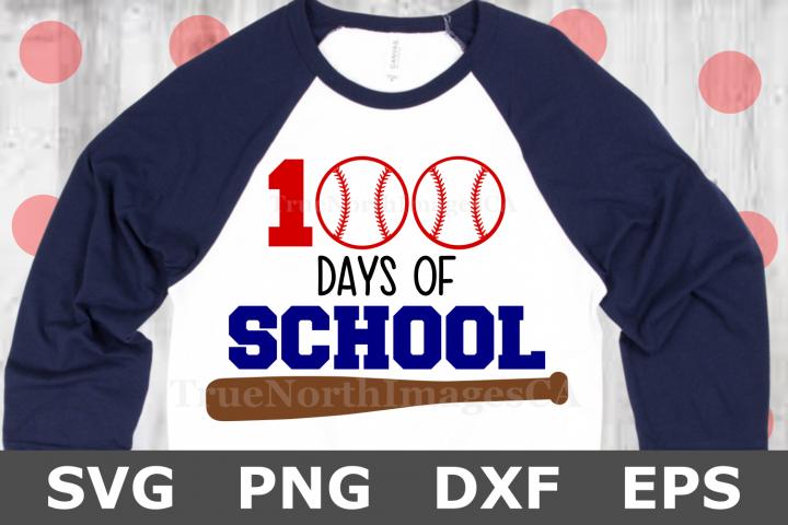 100 Days of School Baseball - A School SVG Cut File
