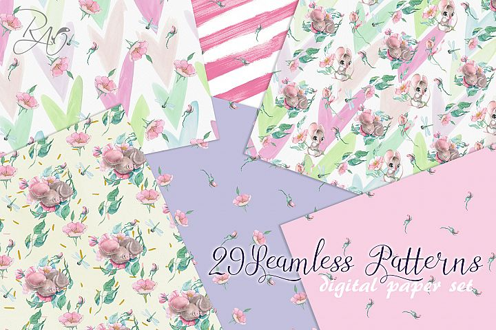 29 seamless pattern digital paper set with watercolor mouse