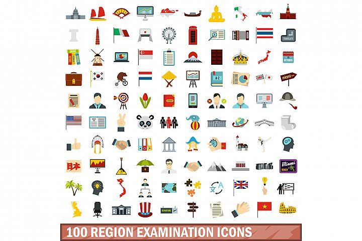 100 region examination icons set, flat style
