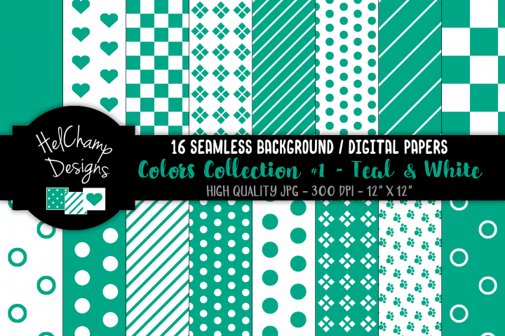 16 seamless Digital Papers - Teal and White - HC066