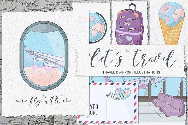 Lets travel. Travel illustrations