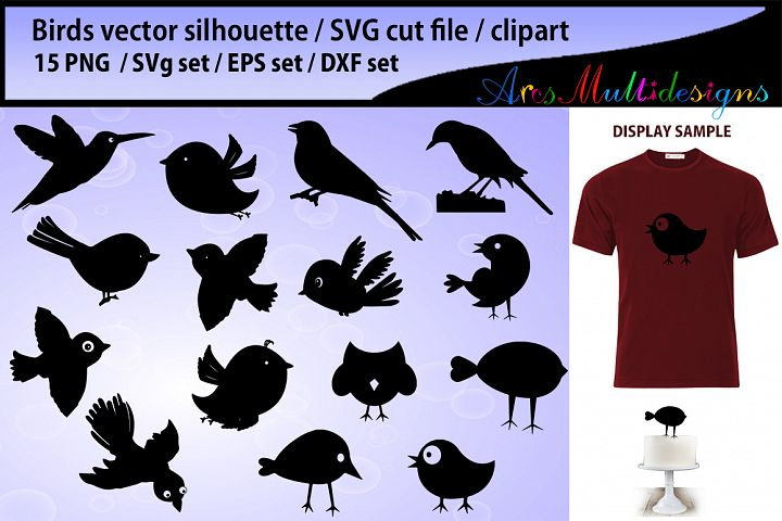 birds svg silhouette / bird silhouette SVG / cute bird vector/ hand drawn doodle cute birds / Eps / Png / printable cake topper