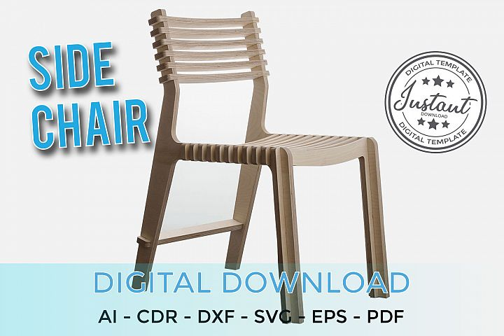 Plywood Side chair for home 3D Puzzle 3D model Vector plans