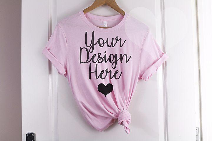 Pink Bella Canvas 3001 T Shirt Mockup - Bella Canvas Mockup