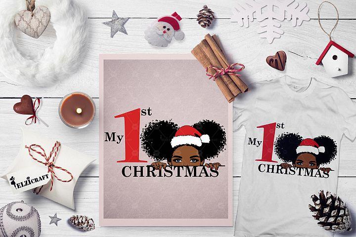My 1st Christmas Afro Peeking Baby Girl Santa Hat Smile SVG