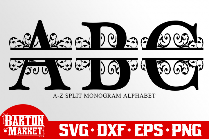 BUNDLE Split Letters A-Z Alphabet SVG DXF EPS PNG