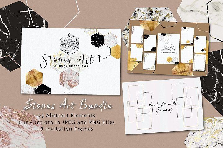 Stones Art I Honeycomb Geometric Bundle Set